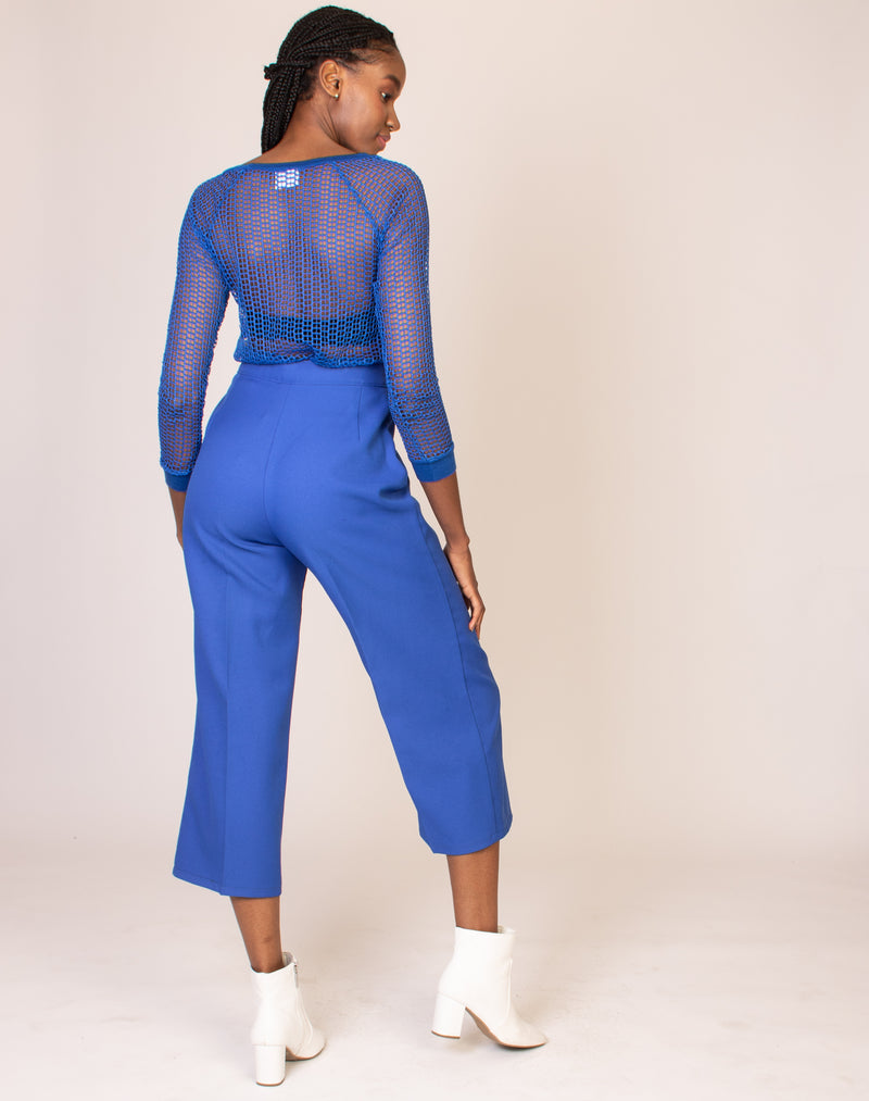 BLUE WIDE LEG TROUSERS
