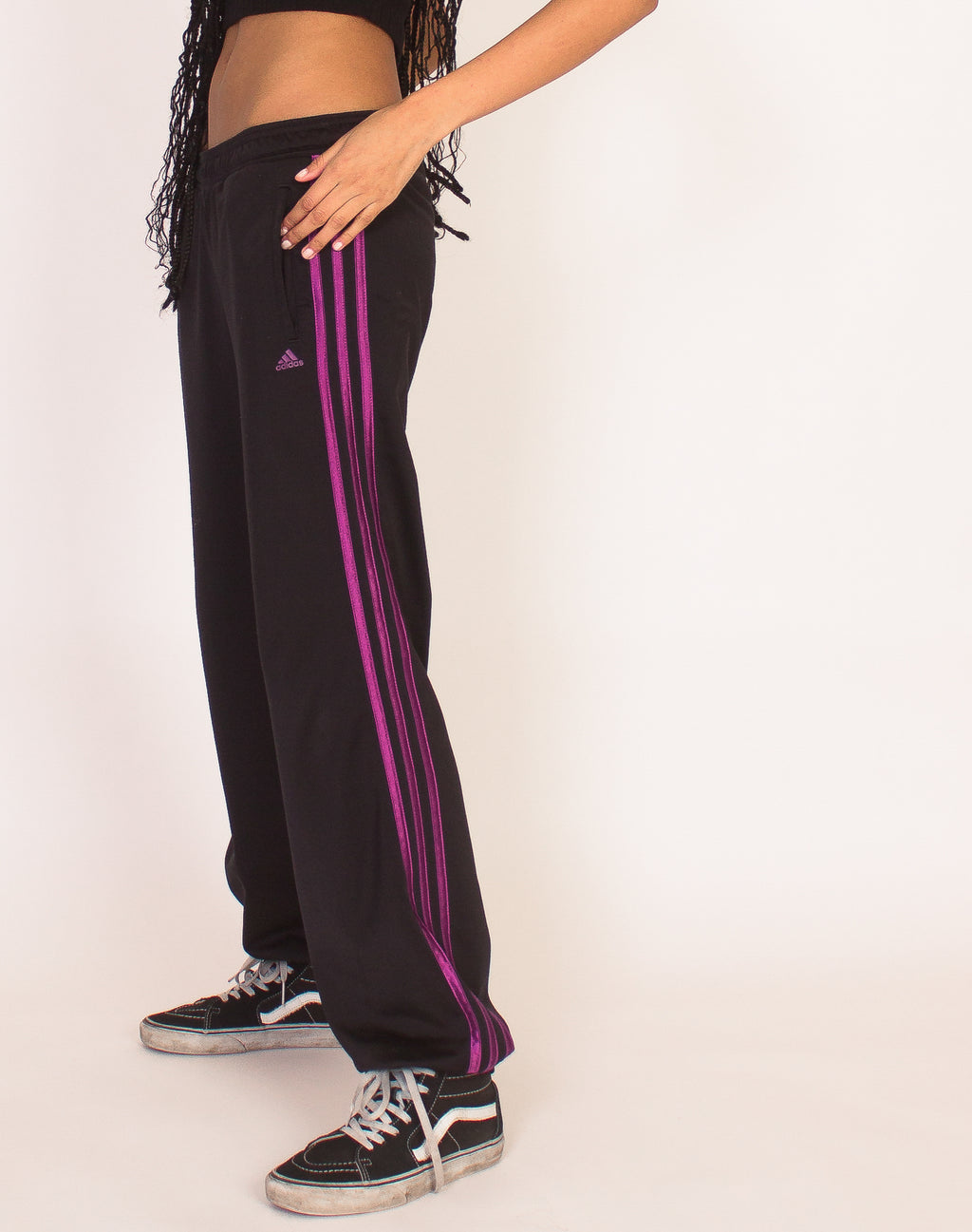ADIDAS BLACK AND PURPLE JOGGERS
