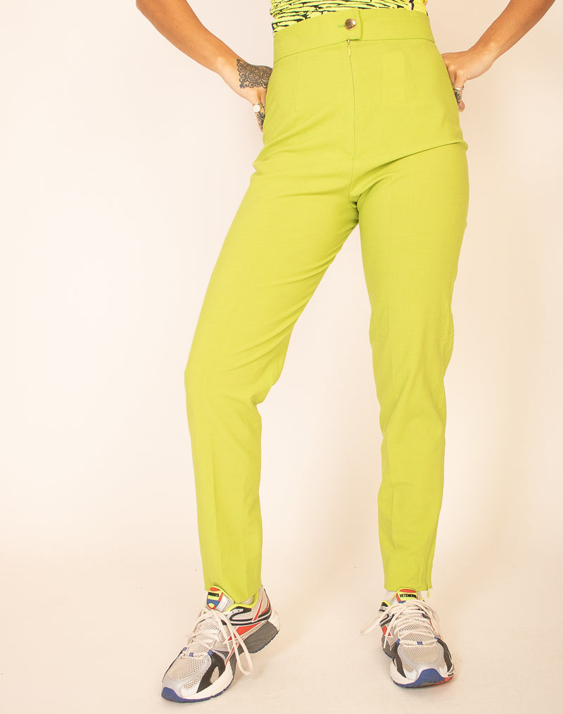 LIME GREEN TAPERED LEG TROUSERS
