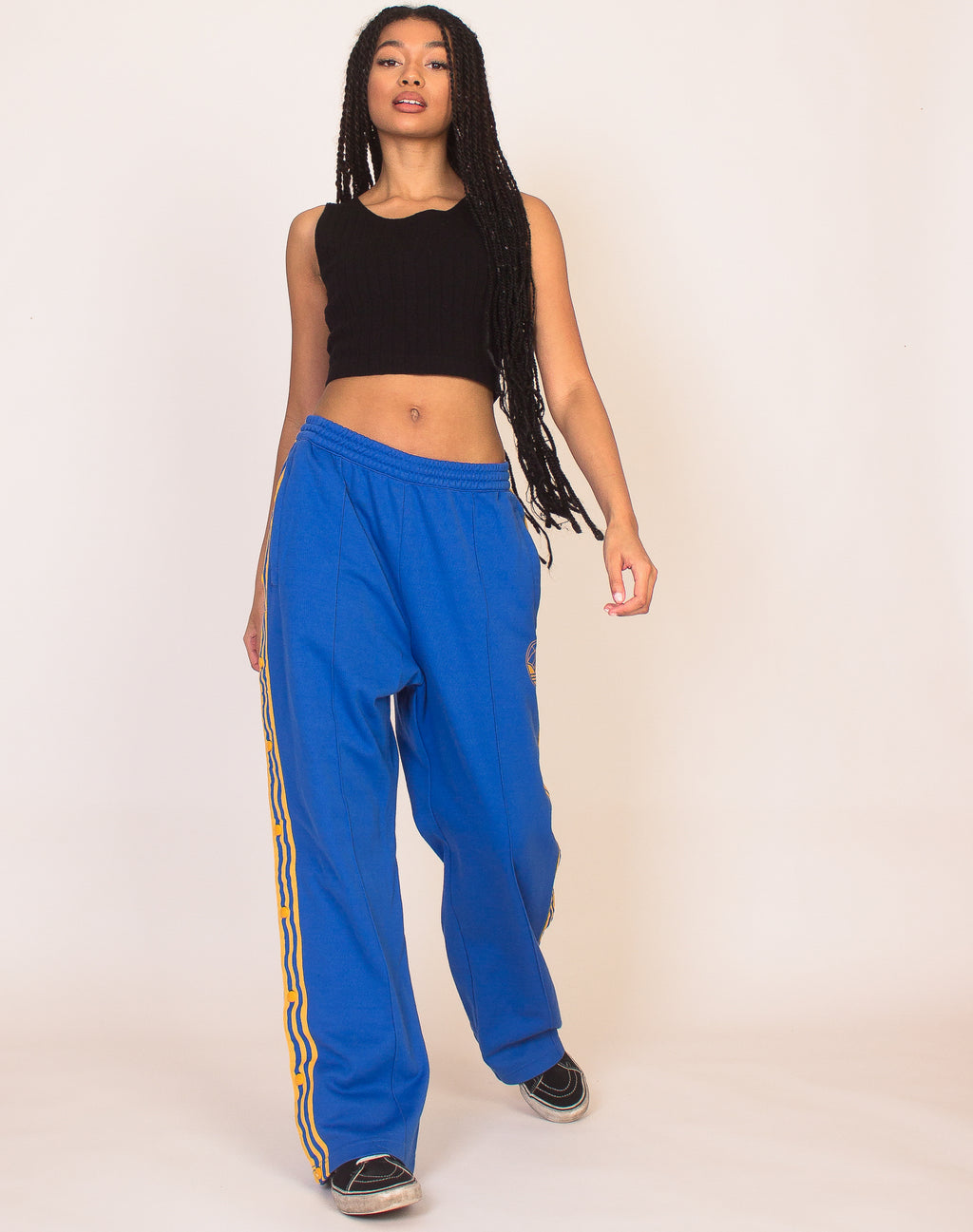 ADIDAS BLUE AND YELLOW POPPER JOGGERS