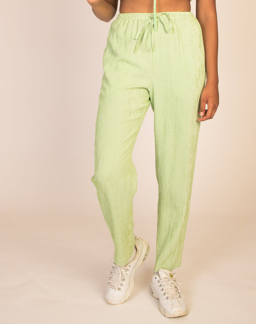 GREEN CHECK JOGGER BOTTOMS
