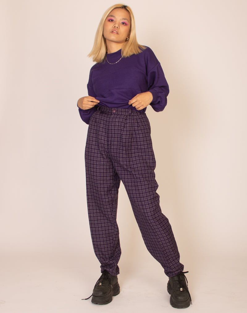 PURPLE CHECK TROUSERS