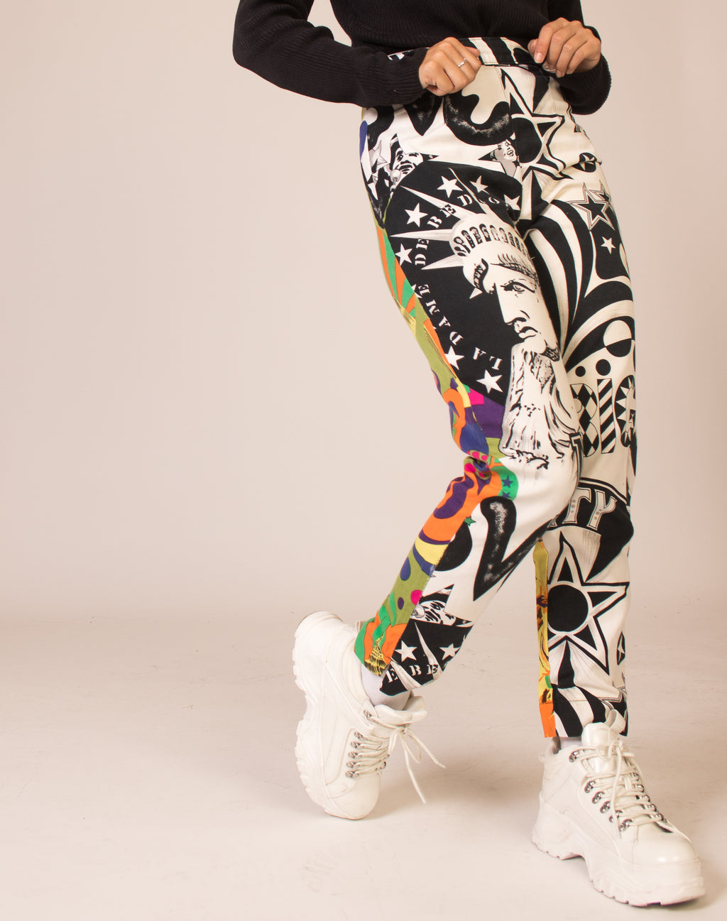 VERSACE NYC PRINT HIGH WAIST TROUSERS