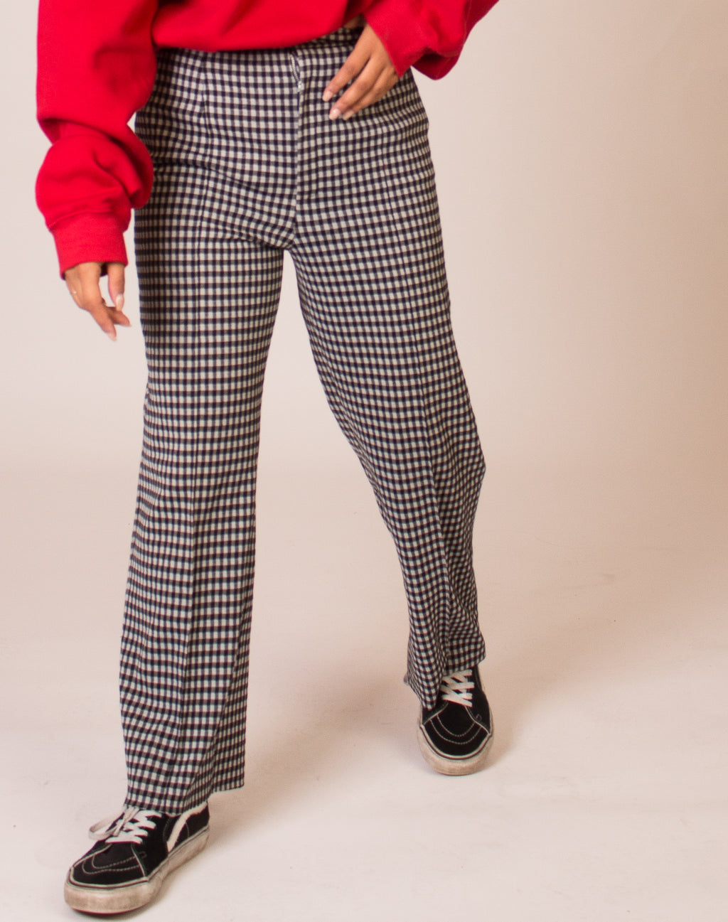 GINGHAM BLACK AND WHITE TROUSERS