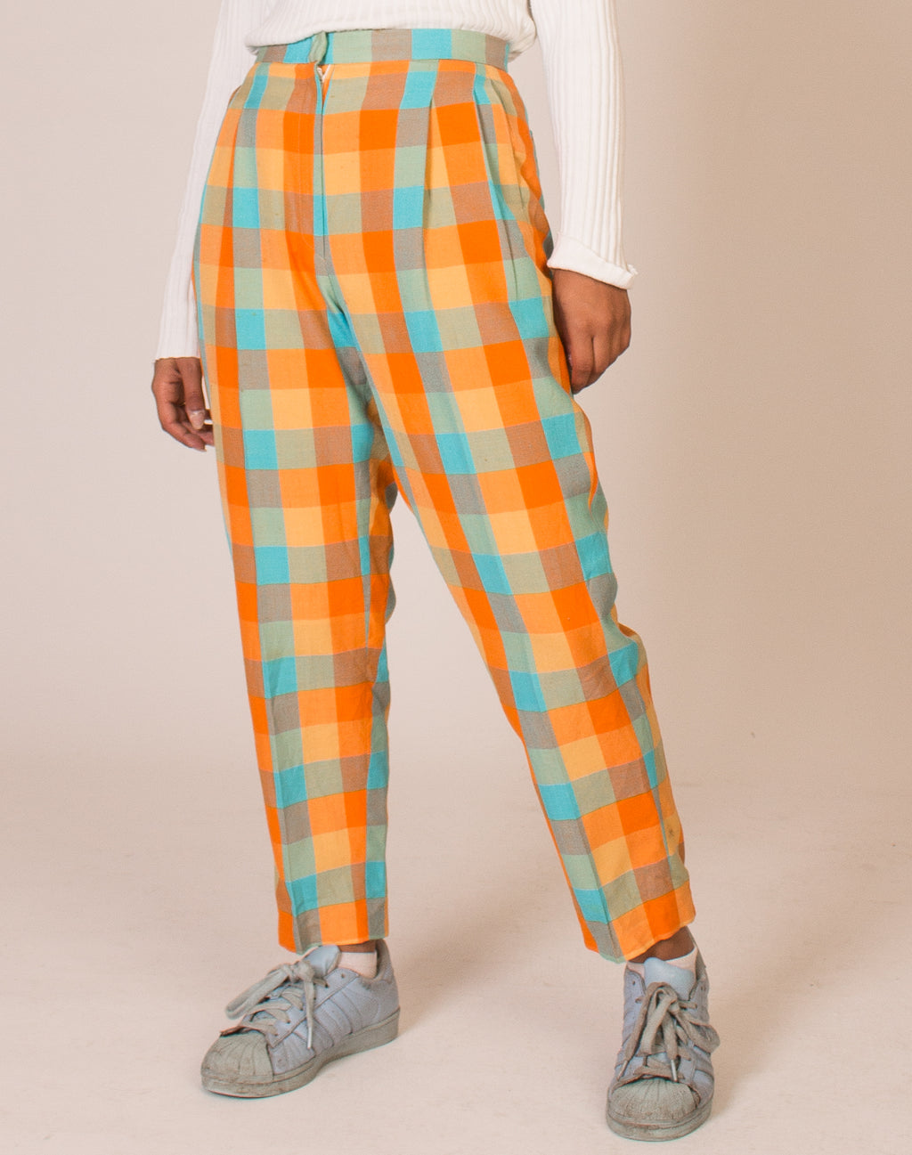 ORANGE AND BLUE CHECK TROUSERS