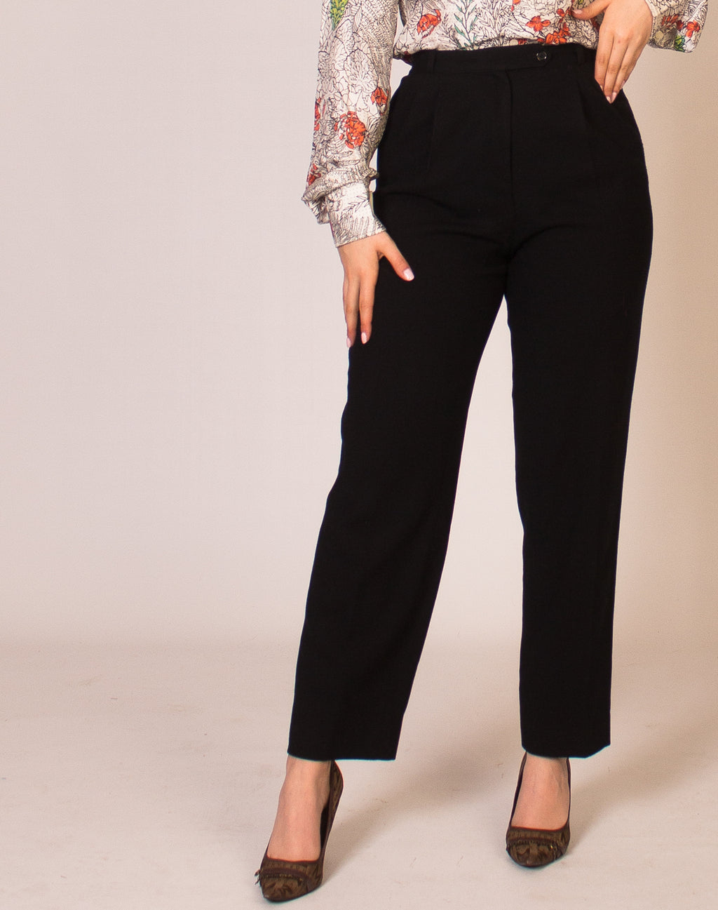BLACK HIGH WAIST CIGARETTE TROUSERS