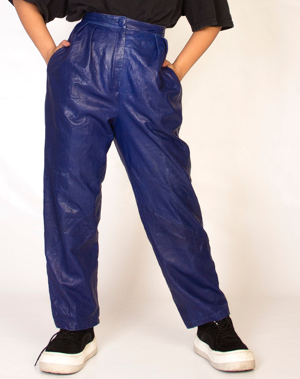 ROYAL BLUE LEATHER TROUSERS