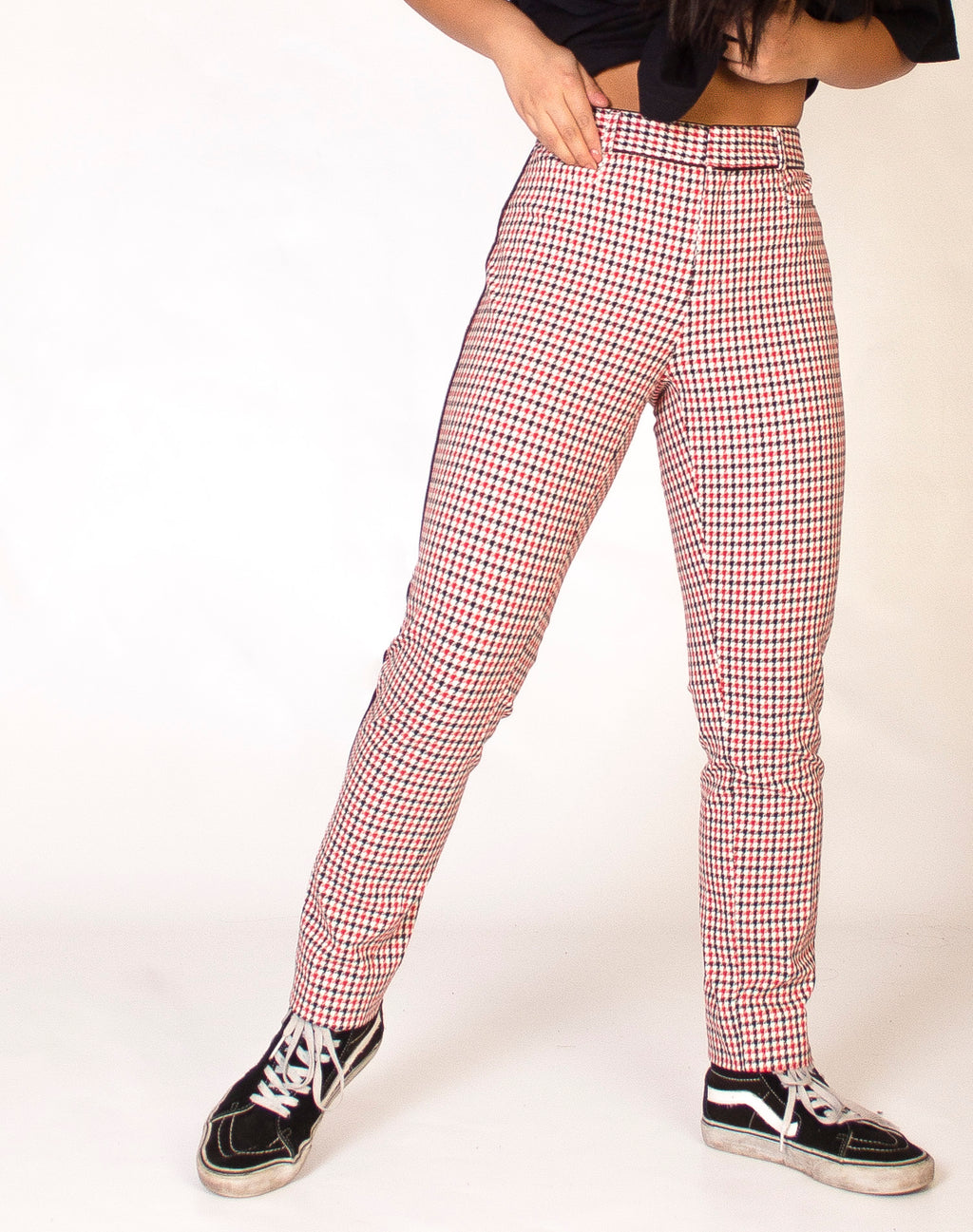 BANANA REPUBLIC RED HOUNDSTOOTH TROUSERS