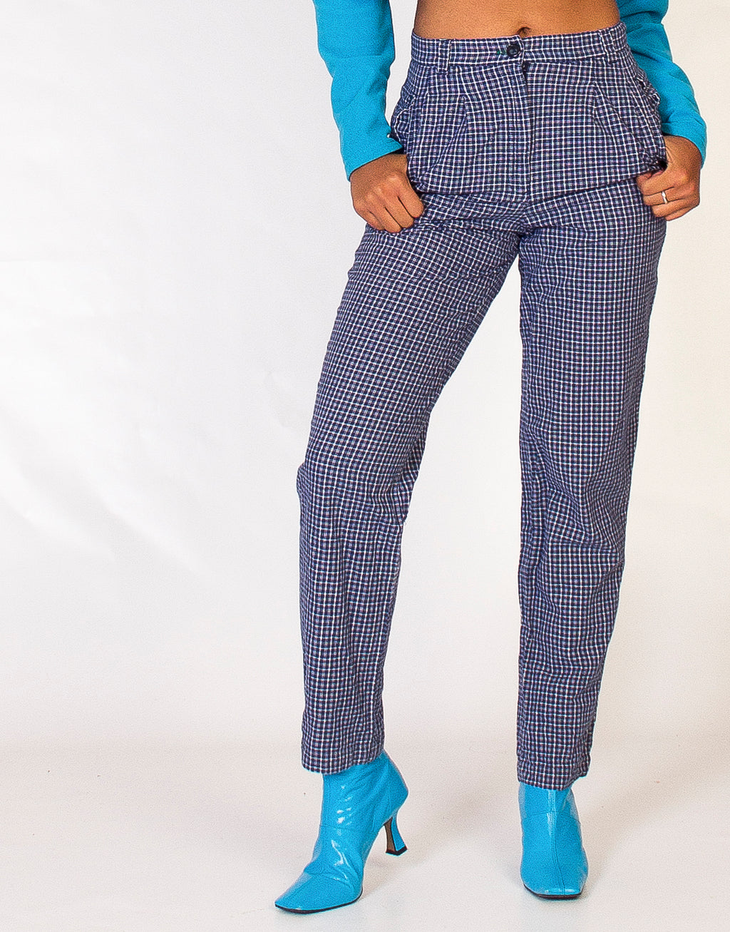 TOMMY HILFIGER BLUE CHECK TROUSERS