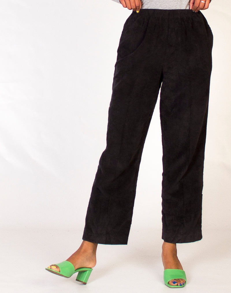 CHARCOAL MINI CORD TROUSERS