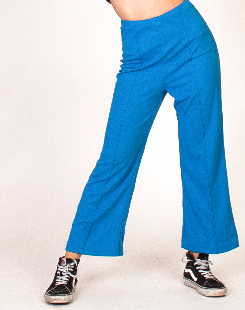 BLUE HIGH WAIST CROPPED FLARED TROUSERS