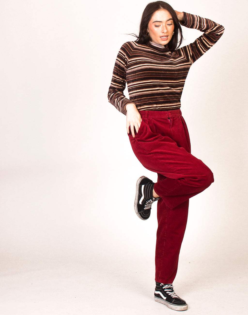 RED CORD STRAIGHT LEG TROUSERS