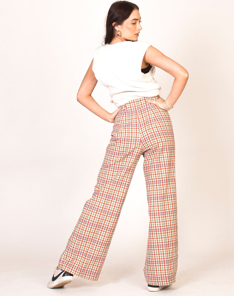 HIGH WAIST CHECK FLARED TROUSERS