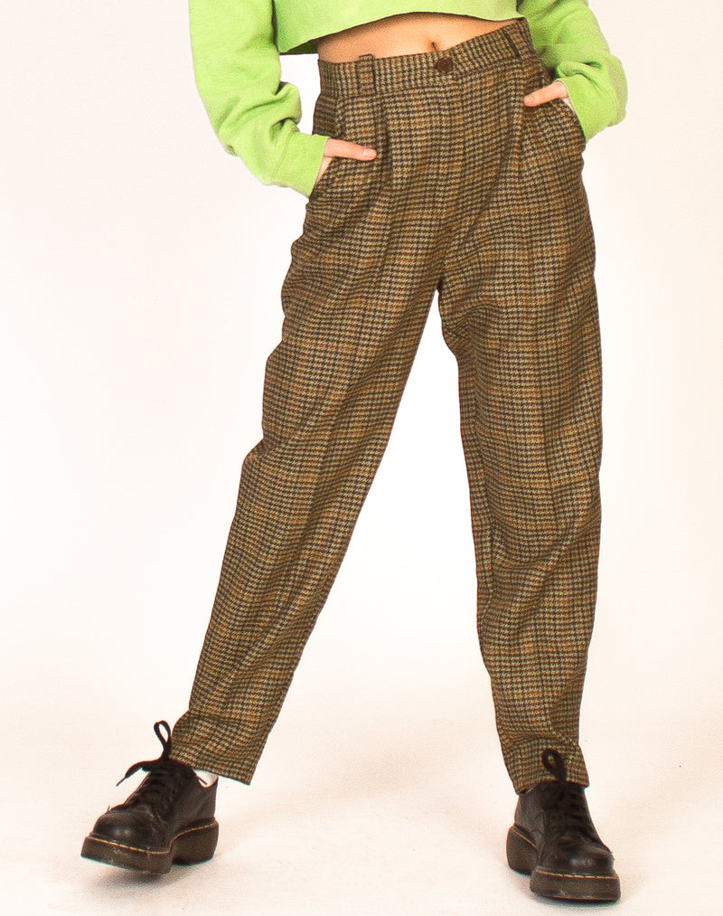 GREEN HIGH WAIST TWEED TROUSERS