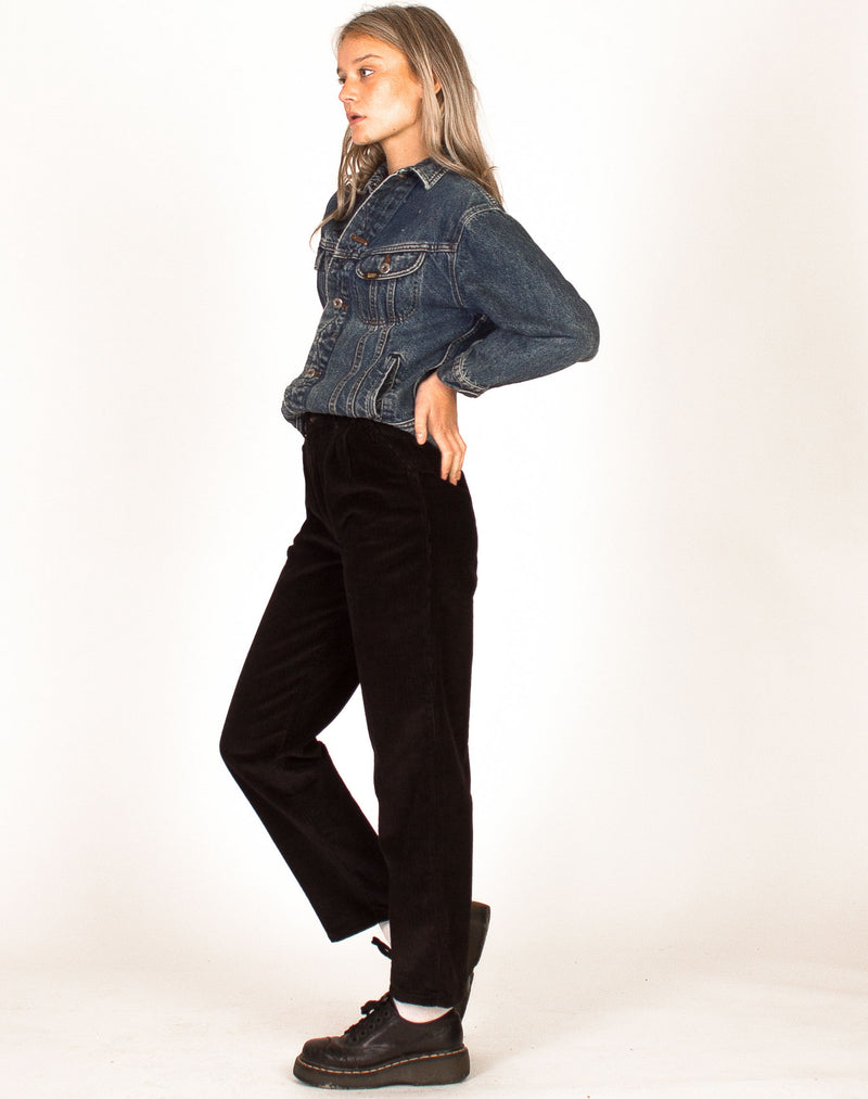 BLACK CORD HIGH WAIST TROUSERS