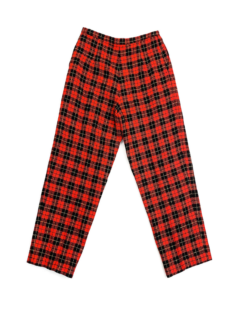 RED WIDE LEG TARTAN TROUSERS
