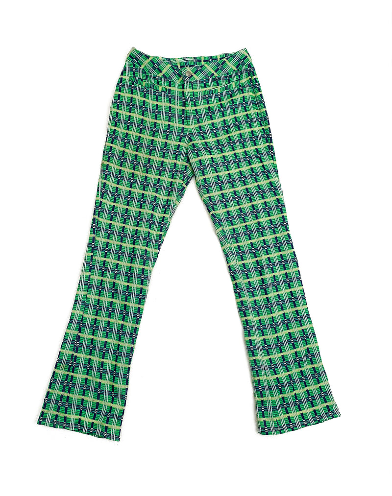 GREEN KICK FLARE CHECK TROUSERS