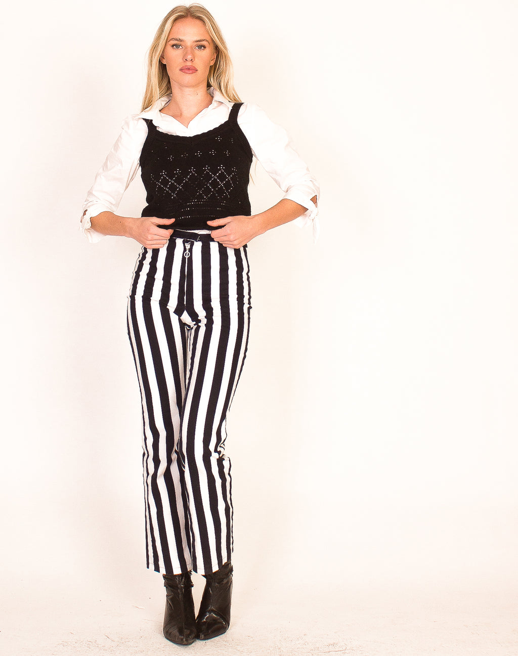 NAVY AND WHITE STRIPED TROUSERS