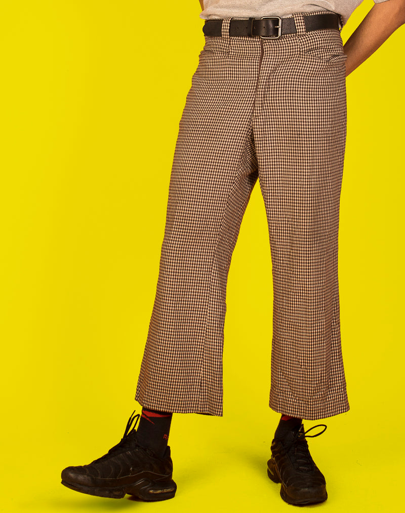 BROWN HOUNDSTOOTH TROUSERS