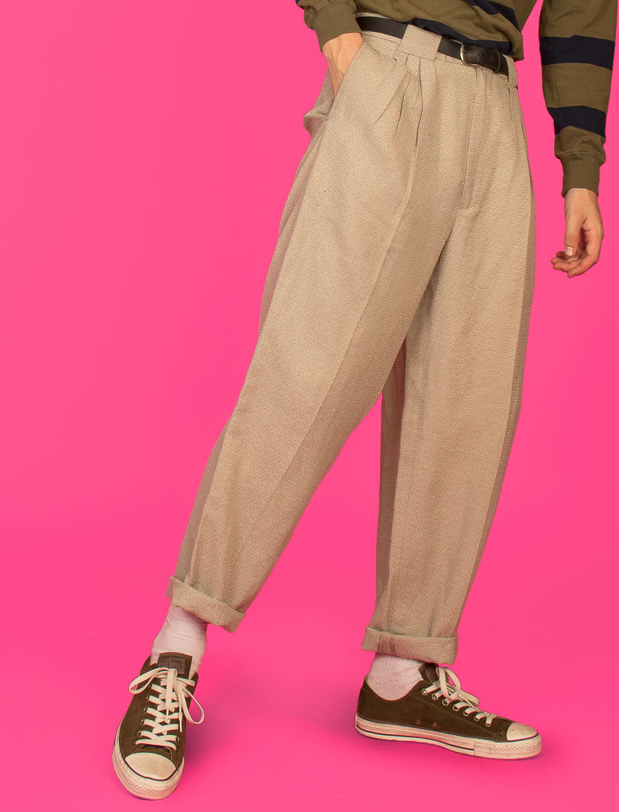 WOVEN PLEATED HIGH WAIST TROUSERS