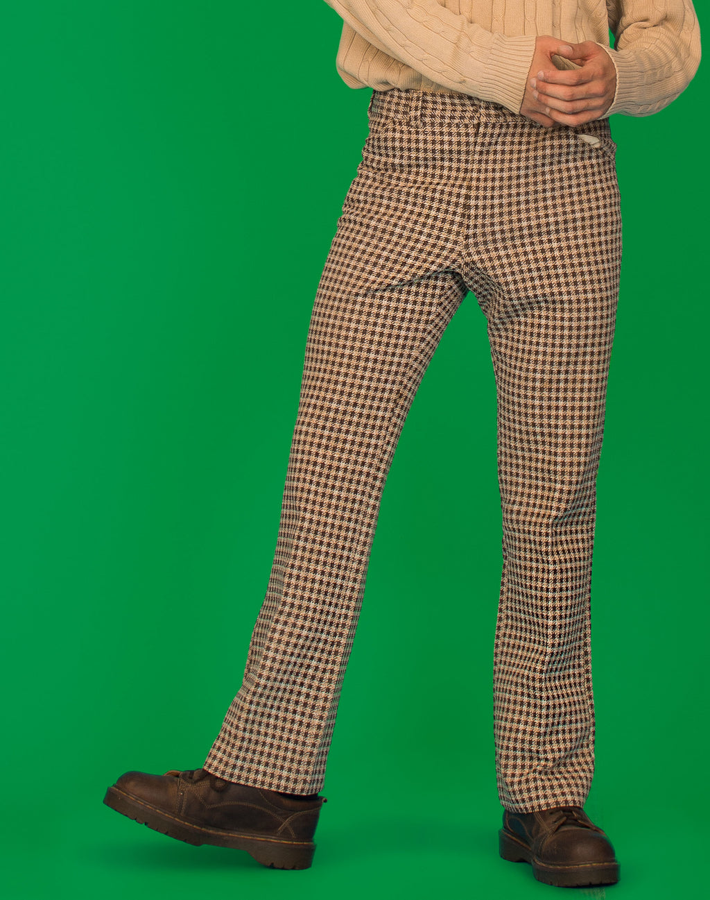 BROWN HOUNDSTOOTH WIDE LEG TROUSERS