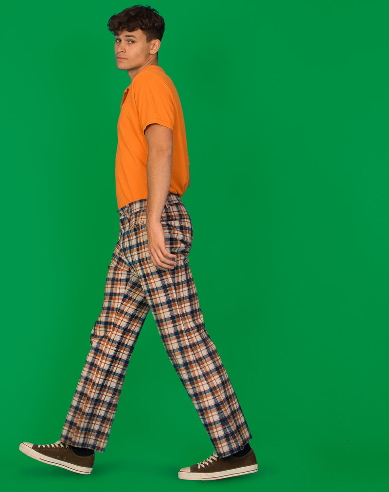 BROWN AND NAVY CHECK WIDE LEG TROUSERS