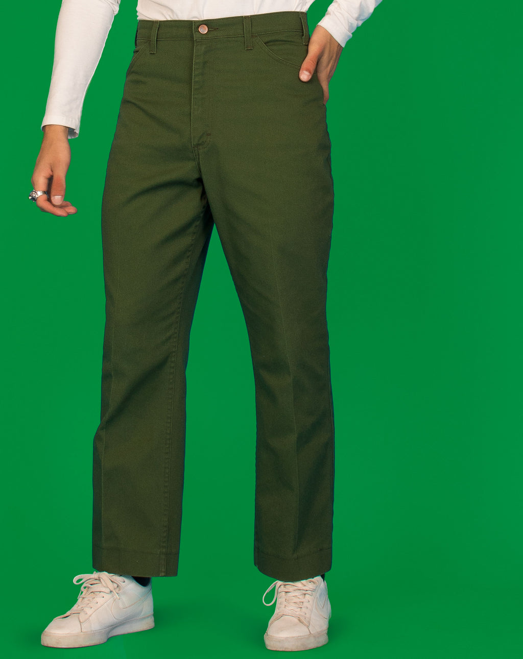 GREEN LOOSE FIT JEANS