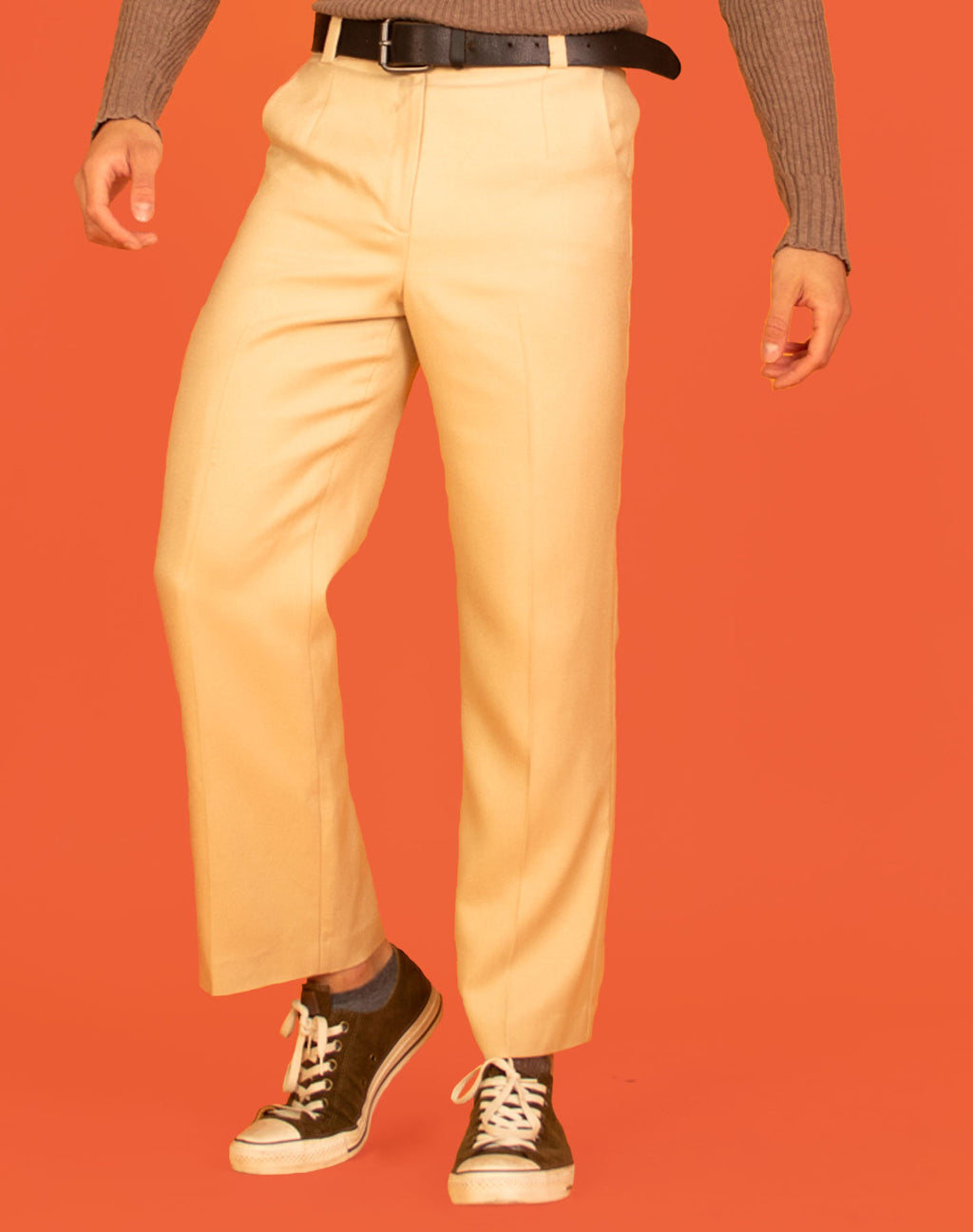CREAM TEXTURED TROUSERS