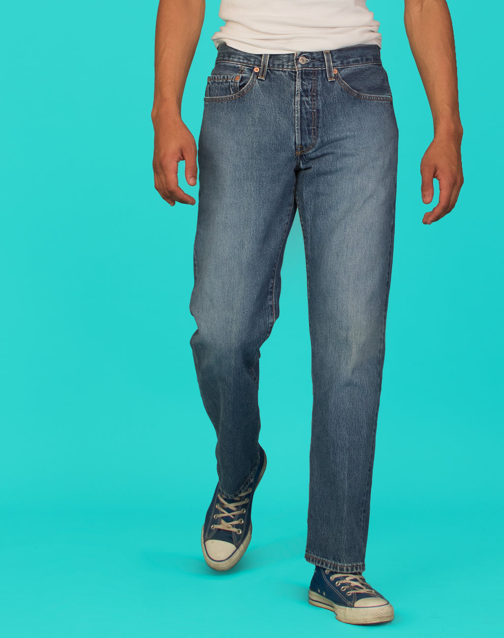 LEVI'S BLUE WASHED 501 JEANS