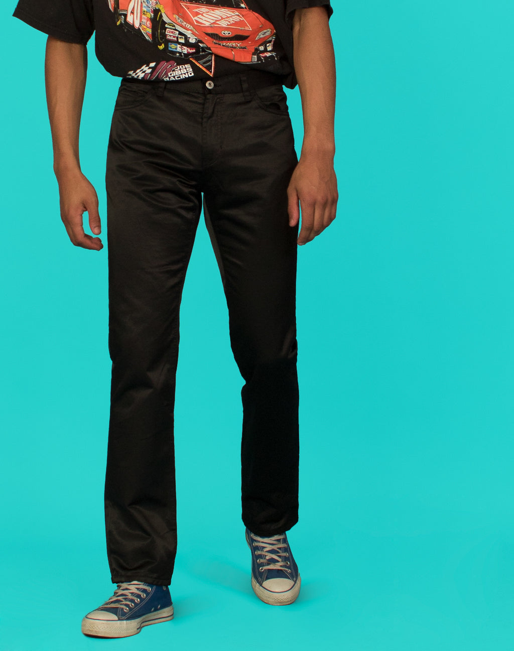 SATIN FINISH BLACK TROUSERS