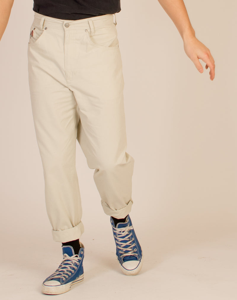 CREAM STRAIGHT LEG TROUSERS