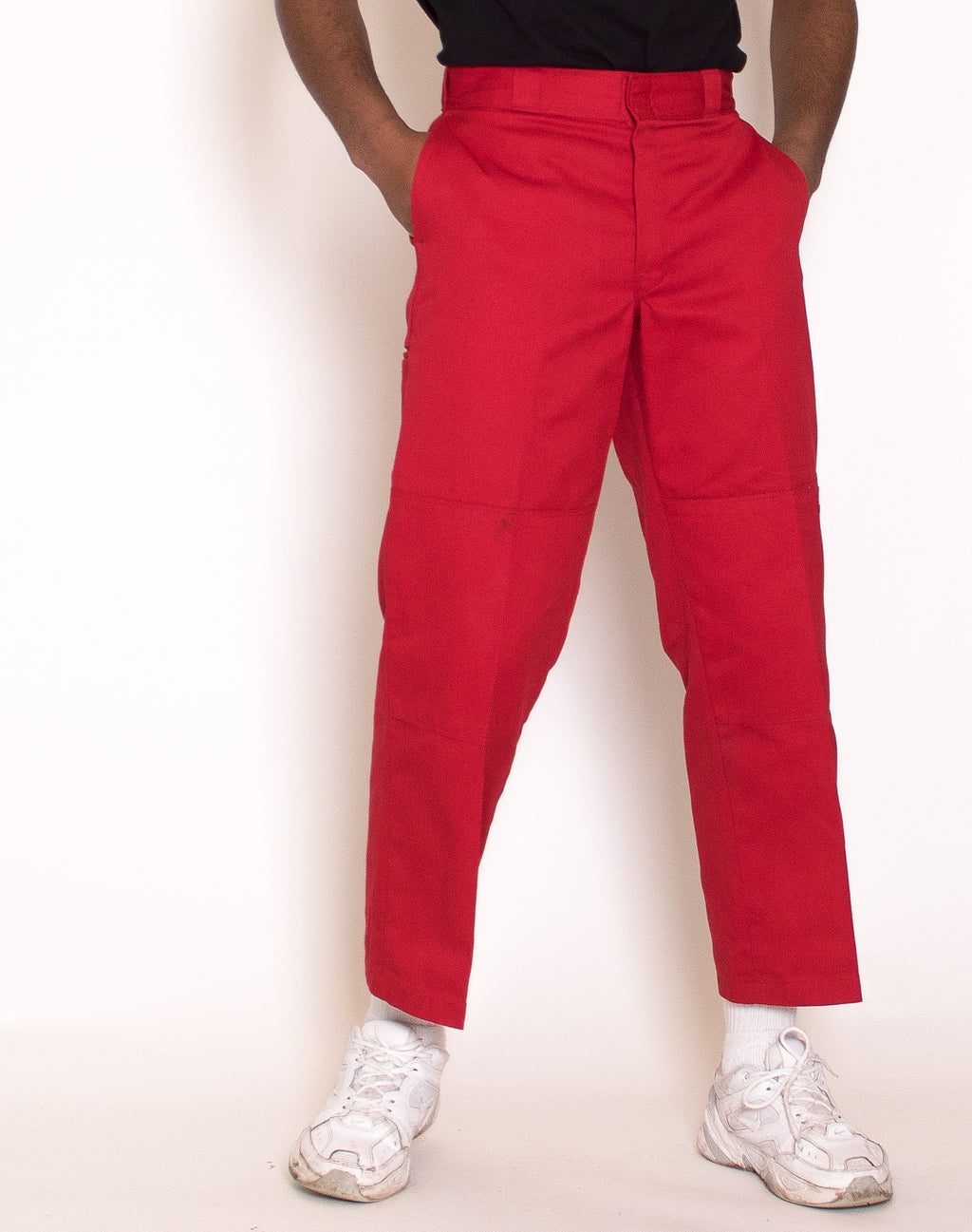 RED STRAIGHT LEG TROUSERS