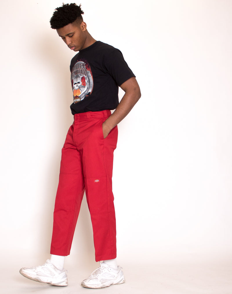 DICKIES RED STRAIGHT LEG TROUSERS