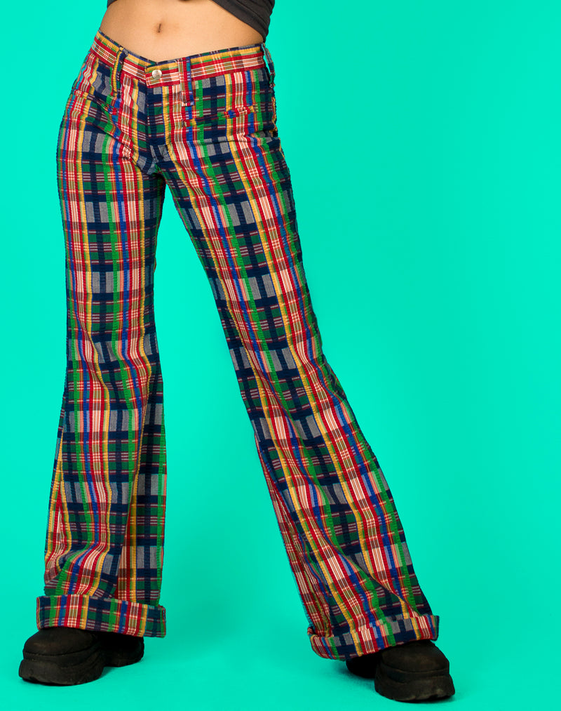 RAINBOW CHECK WIDE LEG PANTS