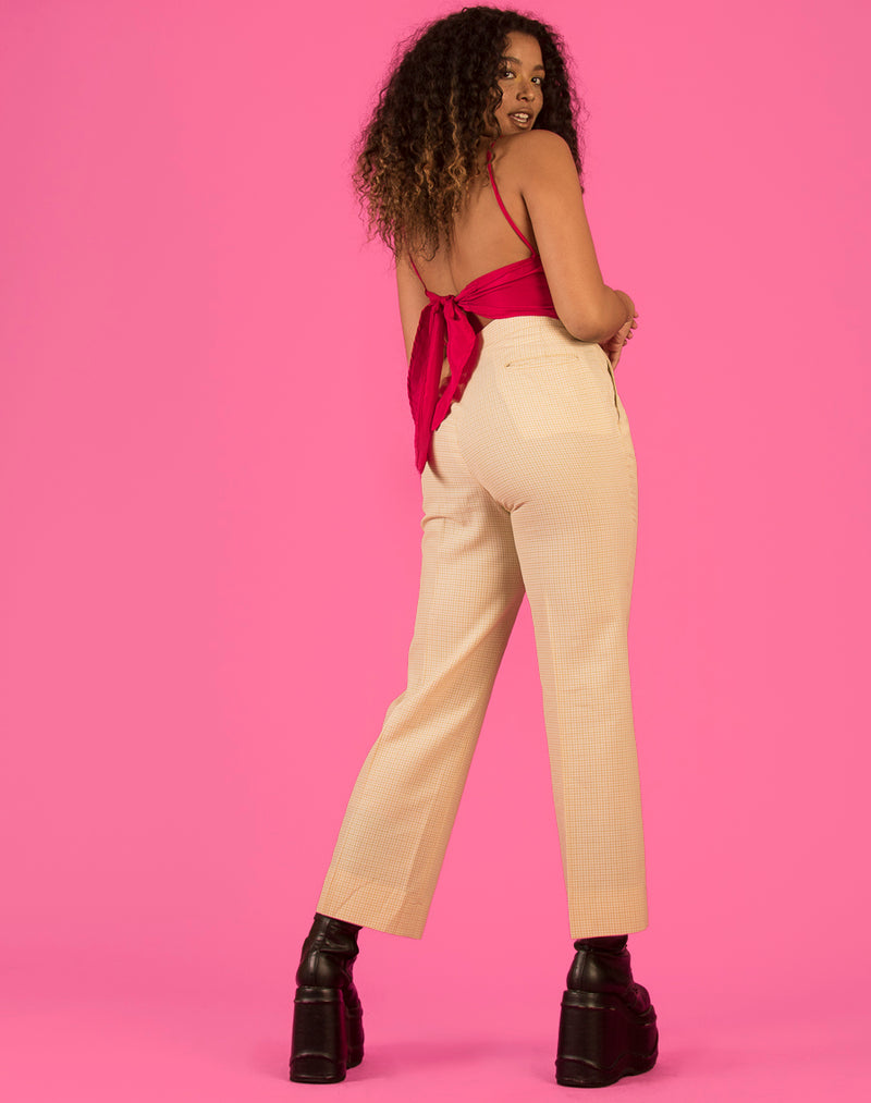 WHITE AND YELLOW CHECK WIDE LEG PANTS