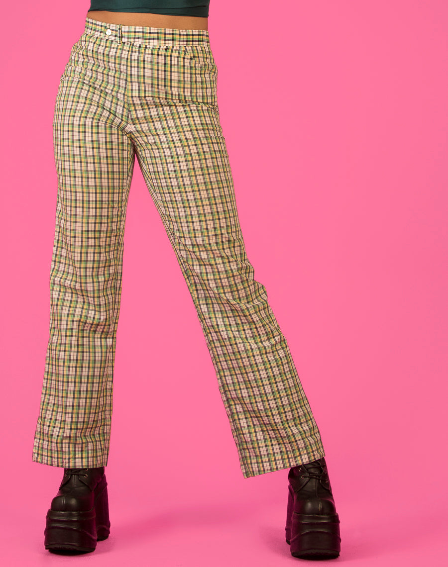 GREEN CHECK WIDE LEG PANTS