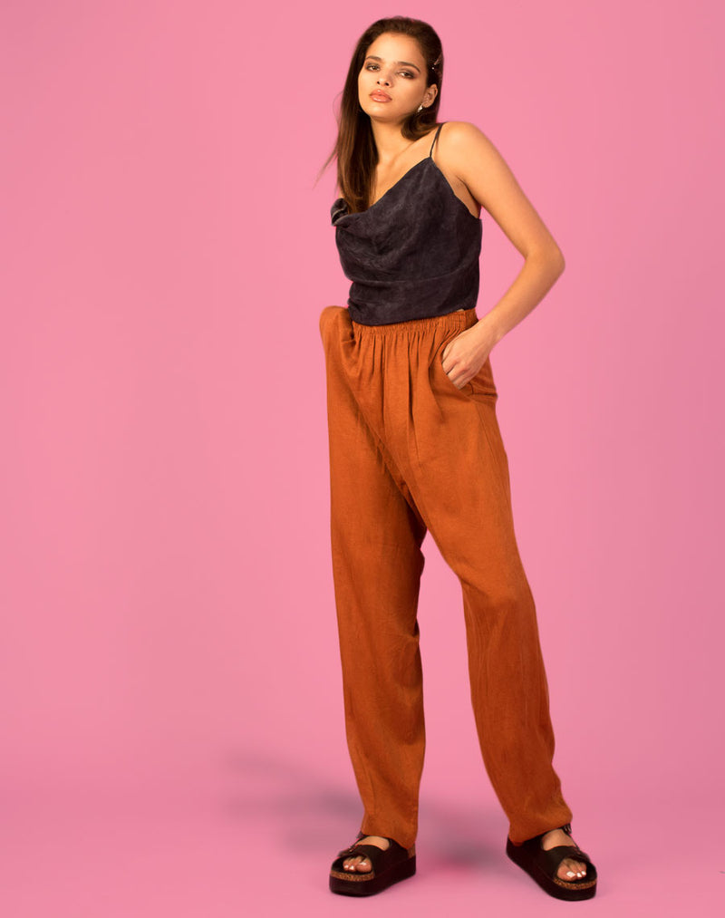 HIGH WAISTED BURNT ORANGE TROUSERS