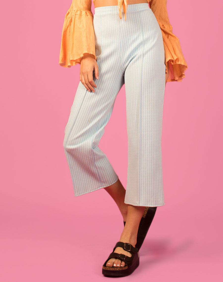PASTEL HOUNDSTOOTH WIDE LEG TROUSERS