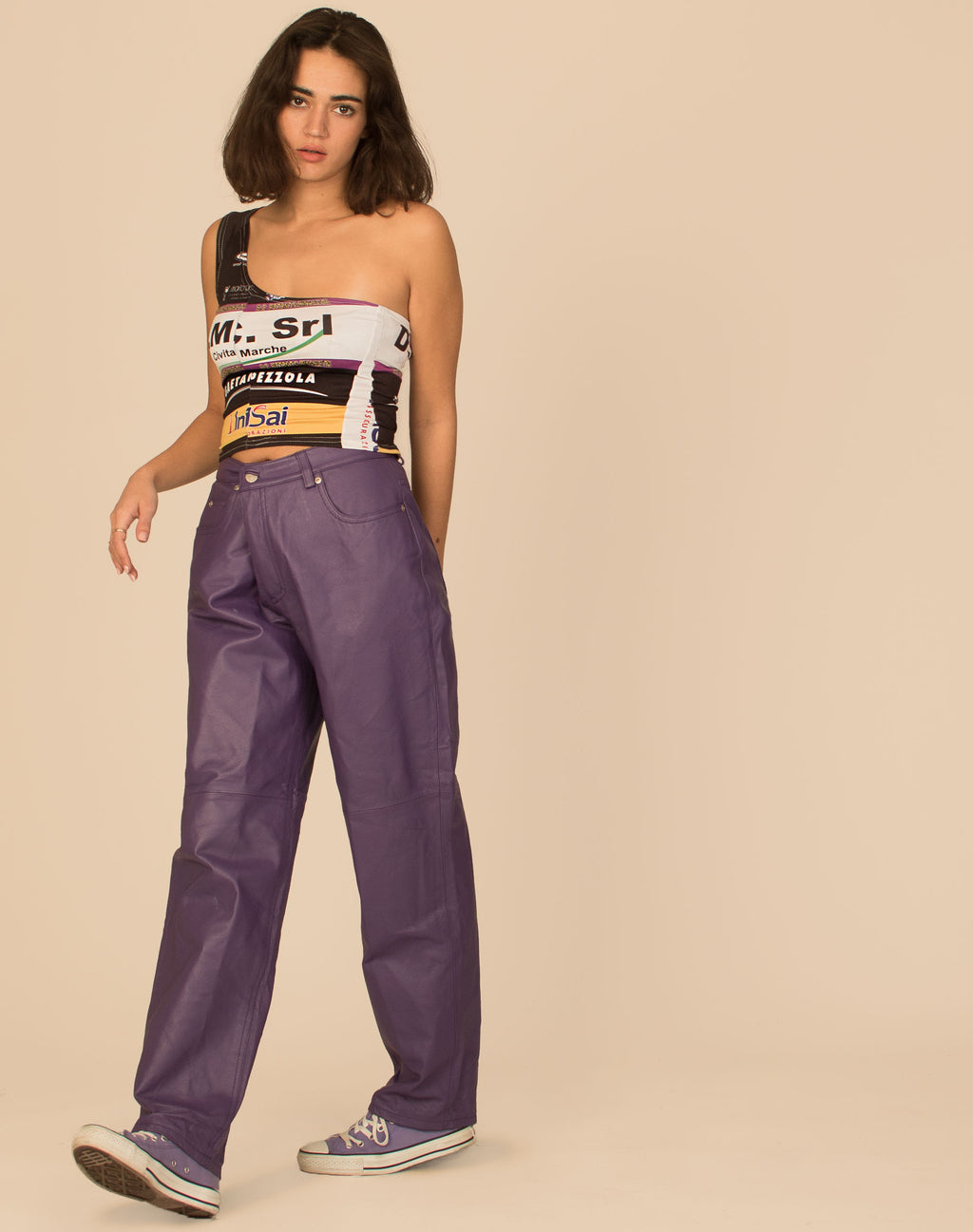 PURPLE LEATHER TROUSERS
