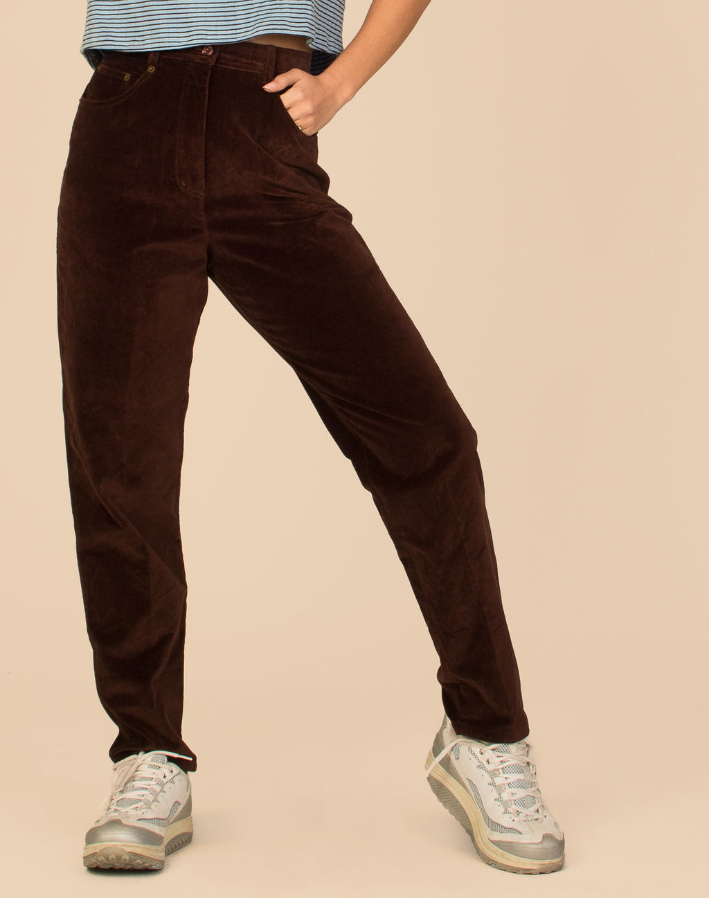 BROWN HIGH WAIST VELVET JEANS