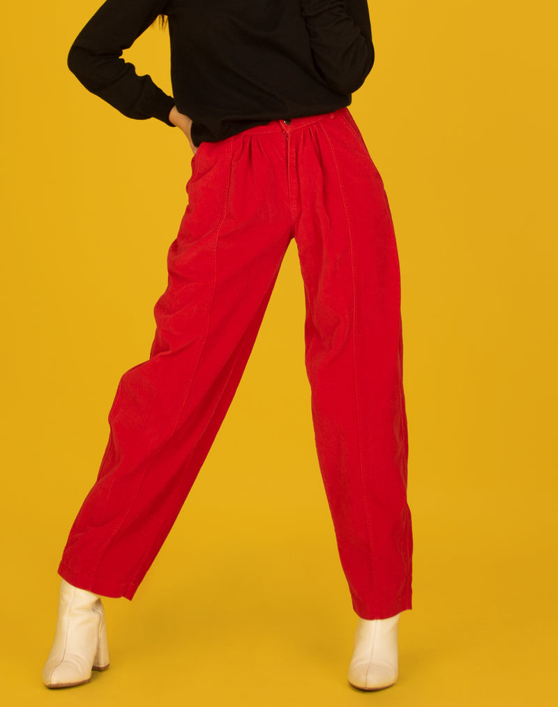 RED VELVET PLEATED TROUSERS