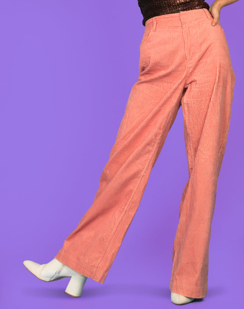 WIDE LEG SALMON CORDUROY TROUSERS