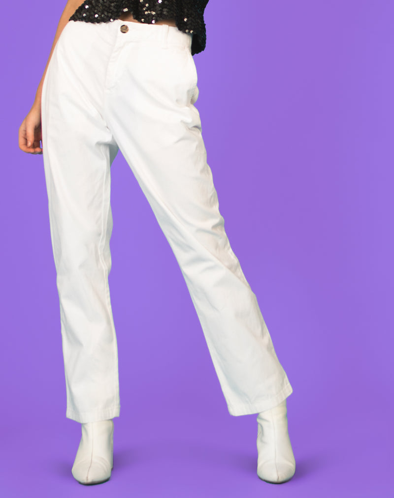 TOMMY HILFIGER WHITE STRAIGHT LEG TROUSERS