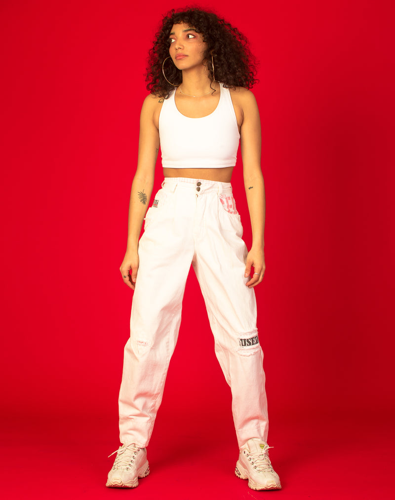 WHITE Y2K MOM JEANS