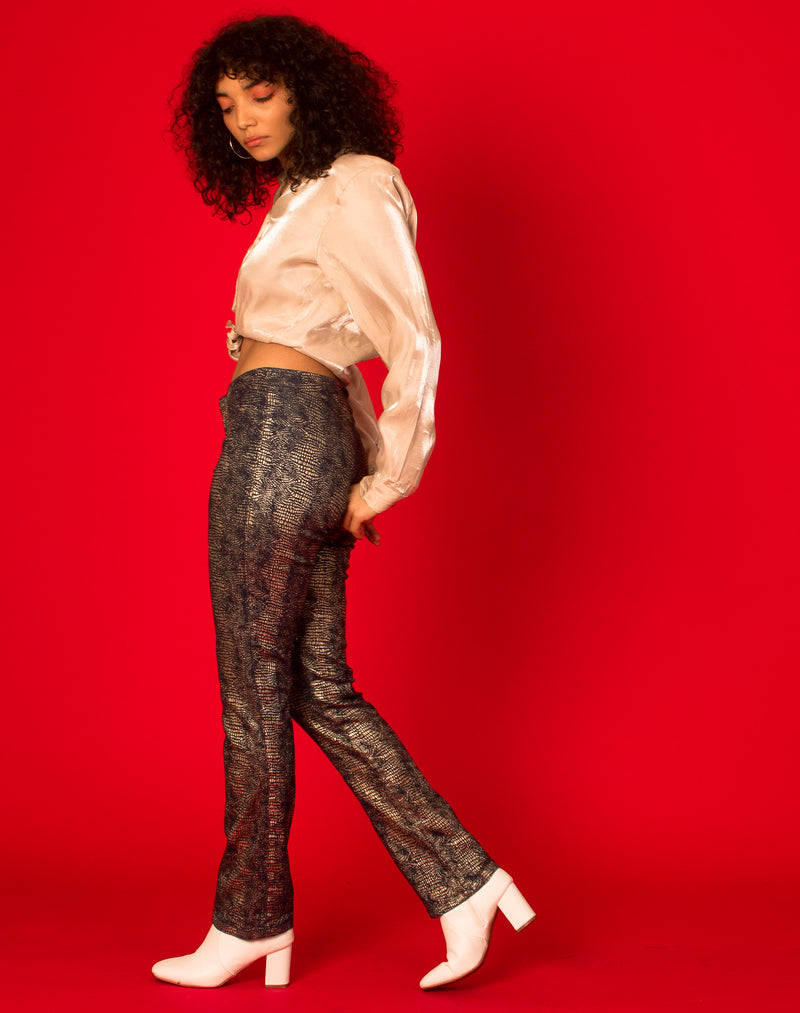 SNAKE PRINT BLUE TROUSERS