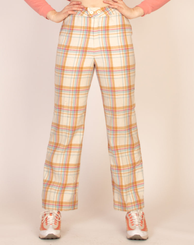 PASTEL CHECK STRAIGHT LEG TROUSERS