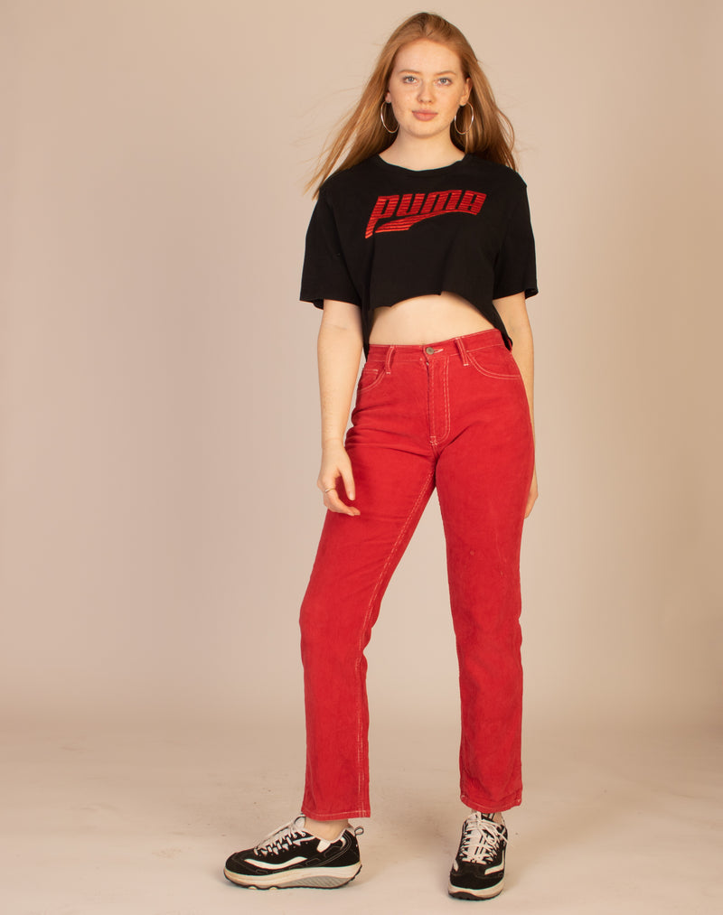 RED CONTRAST STITCH JEANS