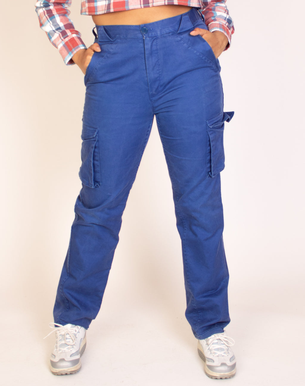 WASHED BLUE CARGO TROUSERS