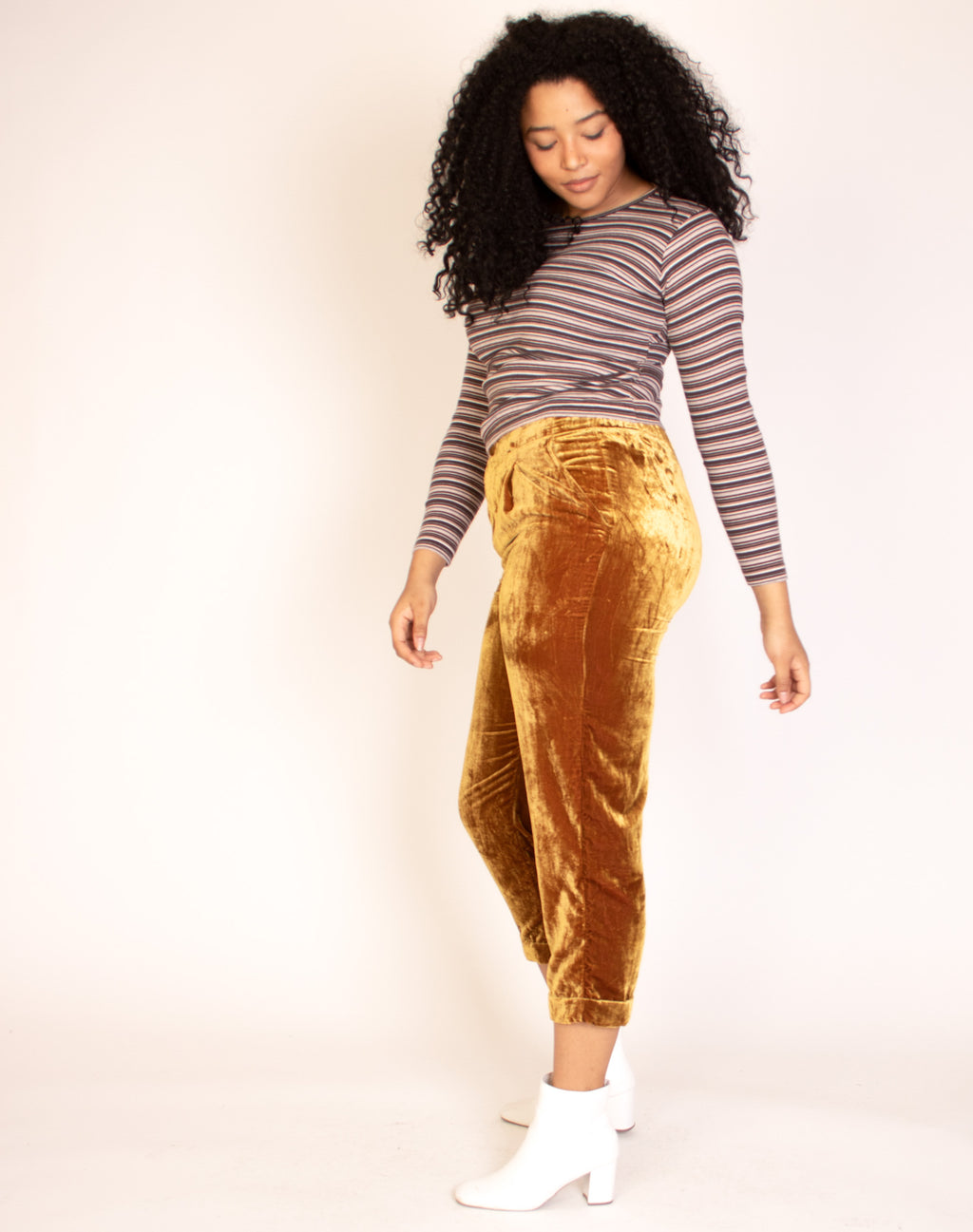 GOLD SUEDE TROUSERS