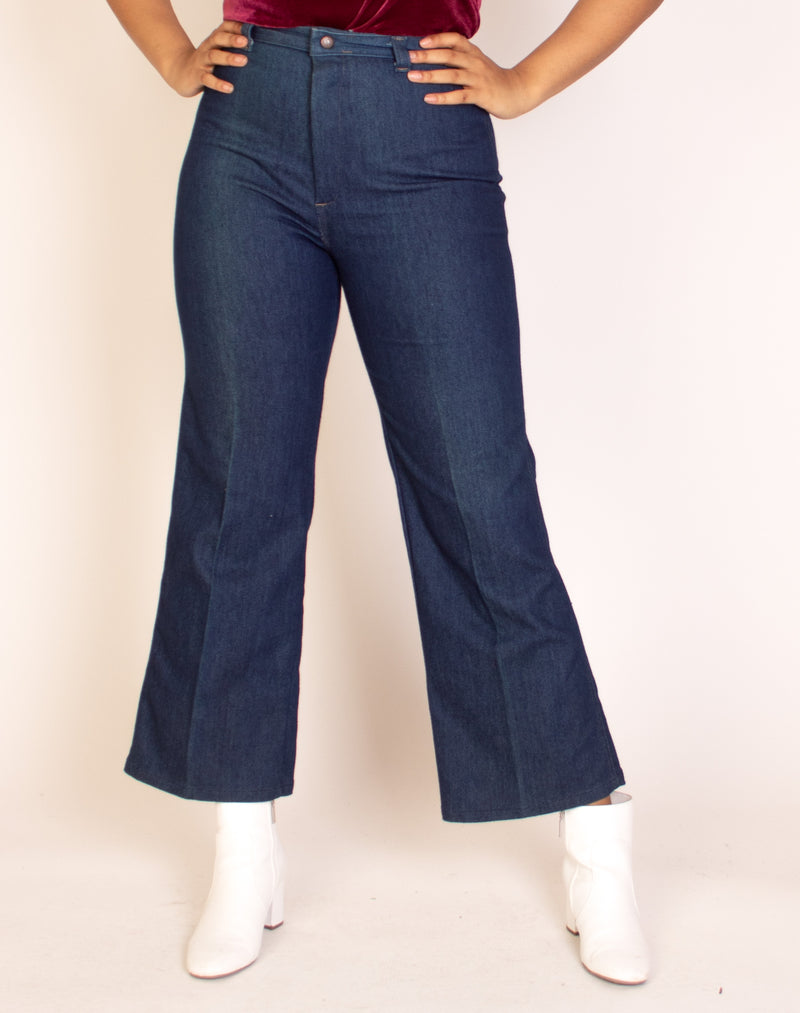 NAVY BLUE DENIM HIGH WAISTED JEANS